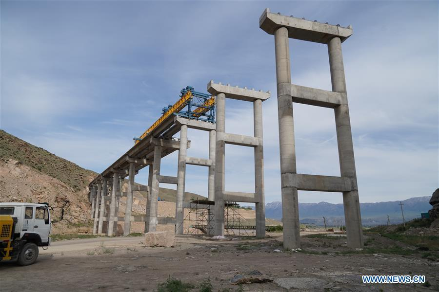 Photo taken on May 23, 2019 shows the construction site of a bridge for a road built by a Chinese company in Jalal-Abad, Kyrgyzstan. (Xinhua/Ma Xiaocheng)