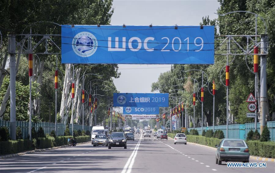 Photo taken on June 9, 2019 shows banners for Shanghai Cooperation Organization (SCO) meeting on a street in Bishkek, capital of Kyrgyzstan. (Xinhua/Fei Maohua)