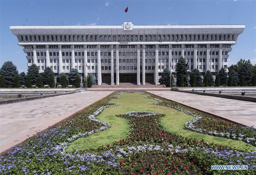 Photo taken on June 9, 2019 shows the presidential palace in Bishkek, capital of Kyrgyzstan. (Xinhua/Fei Maohua)