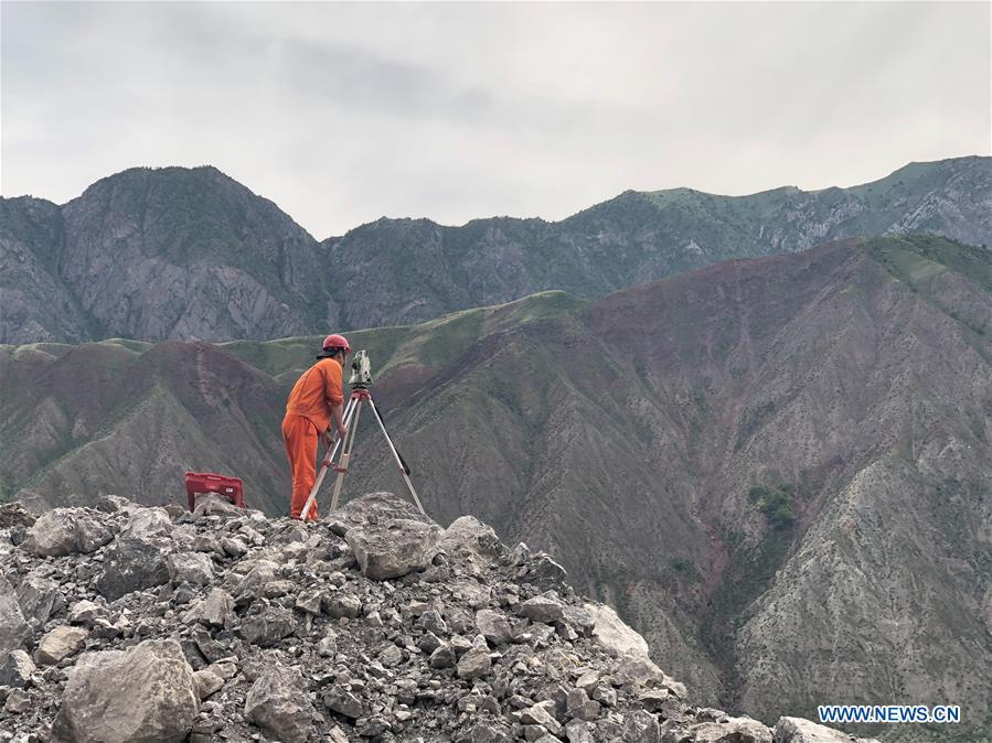 Photo taken on May 24, 2019 shows the construction site of a road built by a Chinese company in Jalal-Abad, Kyrgyzstan. (Xinhua/Ma Xiaocheng)