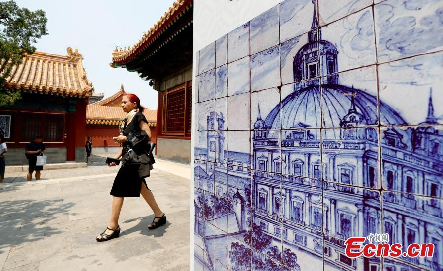 An exhibition titled 'The Land of the Glazed Cities: 500 Years of Azulejo in Portugal' opens in the Palace of Eternal Longevity (Yongshou gong) at the Palace Museum in Beijing, June 11, 2019. As the first exhibition jointly organized by the Palace Museum and the Museu Nacional do Azulejo, it showcases more than 50 of the most exquisite works of Portuguese azulejo (a form of painted tilework) from the sixteenth to twenty-first centuries. Since each work comprises many individual tiles, the total number of tiles to be displayed is approximately 5,000. (Photo: China News Service/Du Yang)