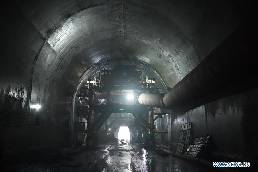 Photo taken on May 23, 2019 shows the construction site of a tunnel for a road built by a Chinese company in Jalal-Abad, Kyrgyzstan. (Xinhua/Ma Xiaocheng)