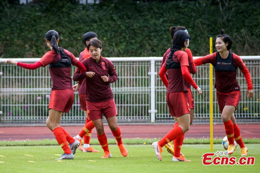 Players of China attend the training session ahead of the group B match between South Africa and China at the 2019 FIFA Women\'s World Cup in Paris, France, June 11, 2019. (Photo: China News Service/Fu Tian)