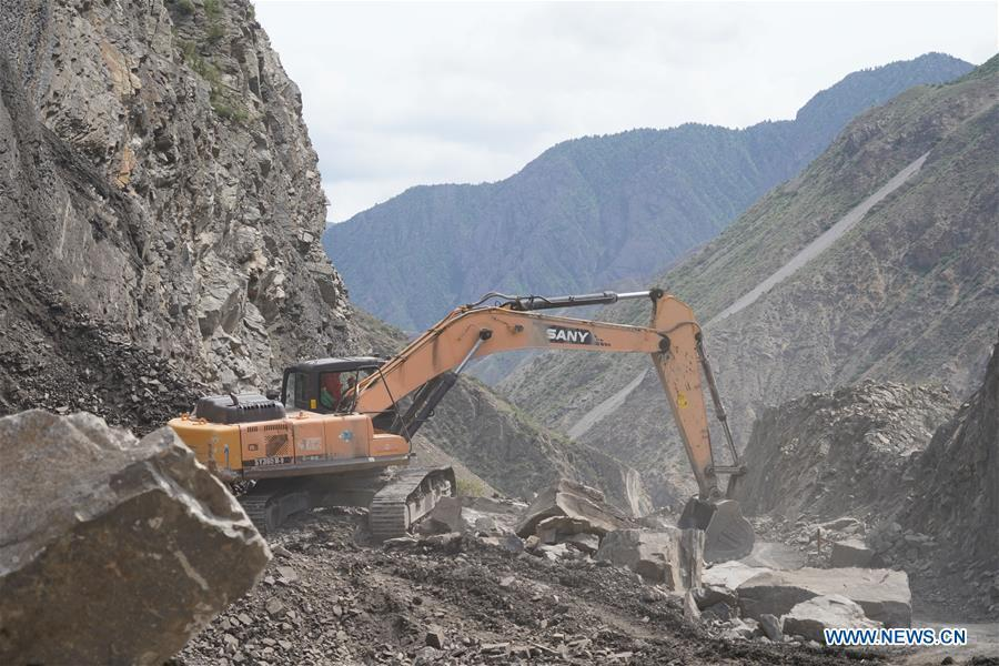 Photo taken on May 23, 2019 shows the construction site of a road built by a Chinese company in Jalal-Abad, Kyrgyzstan. (Xinhua/Ma Xiaocheng)