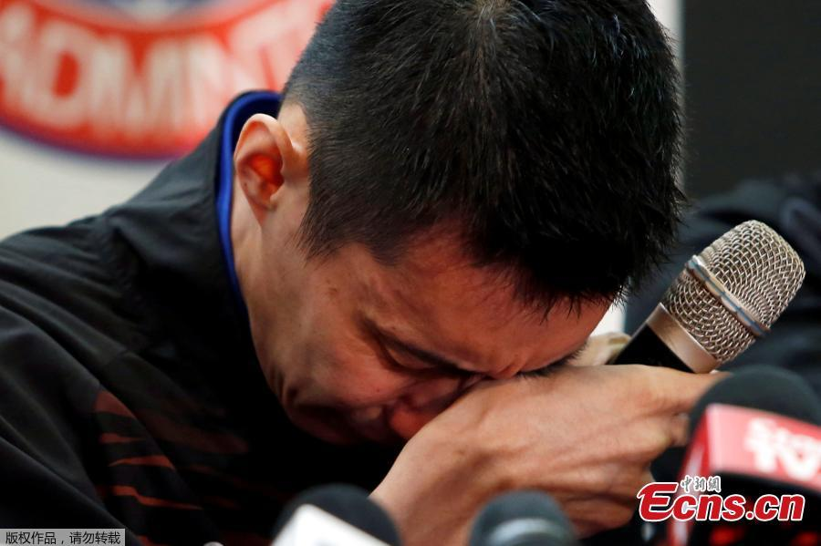 Malaysia\'s badminton player Lee Chong Wei reacts during a news conference to announce his retirement in Putrajaya, Malaysia June 13, 2019. (Photo/Agencies)