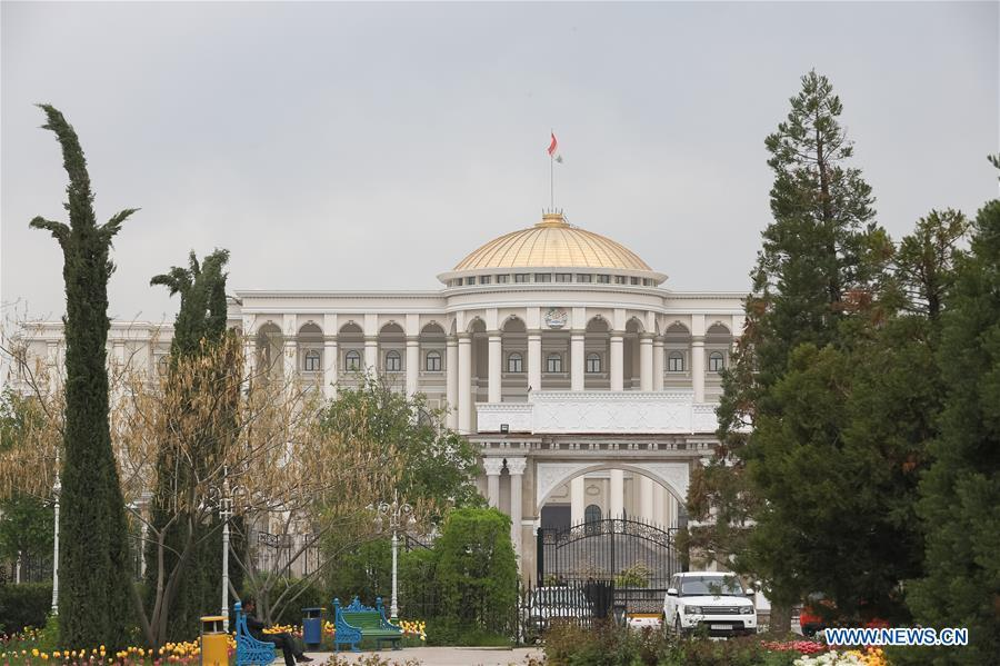 <?php echo strip_tags(addslashes(Photo taken on April 13, 2019 shows the presidential palace in Dushanbe, capital of Tajikistan. (Xinhua/Bai Xueqi))) ?>