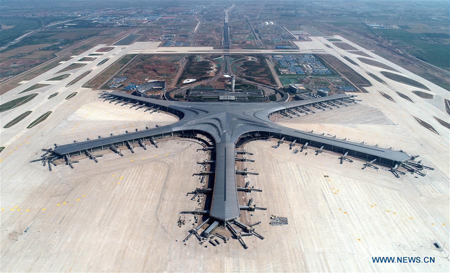 Aerial photo taken on June 12, 2019 shows the Qingdao Jiaodong International Airport under construction in Qingdao, east China\'s Shandong Province. (Xinhua/Li Ziheng)