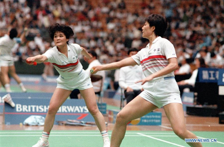 Lin Ying (L) and Guan Weizhen compete during a women\'s doubles match at the 5th World Badminton Championships in Beijing, capital of China, May 24, 1987. Chinese players won all five champions of this tournament. This year marks the 70th anniversary of the founding of the People\'s Republic of China (PRC). On April 5, 1959, Rong Guotuan won the champion of the men\'s singles event at the 25th ITTF World Table Tennis Championships in Dortmund, Germany, becoming China\'s first ever world champion. Chinese players have made more achievements during the 60 years since then. (Xinhua/Hu Yue)