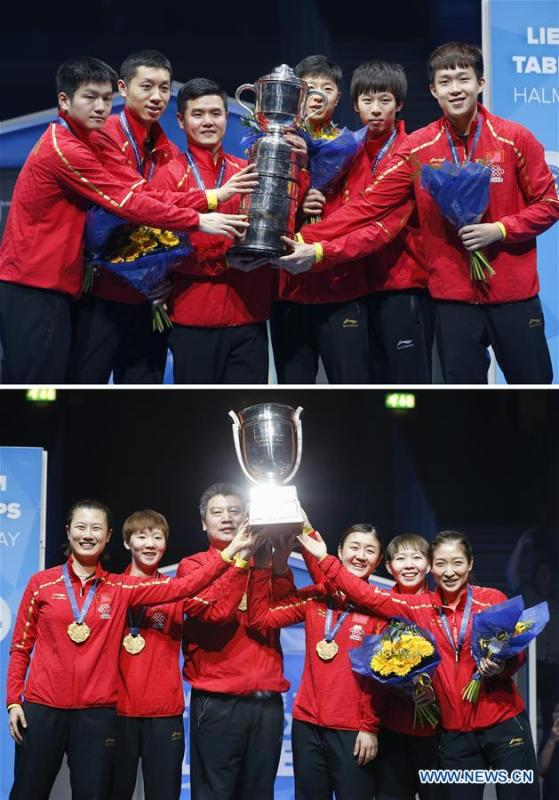 Combo picture shows the men\'s table tennis team of China posing with the trophy after winning the 2018 ITTF World Team Championships in Halmstad, Sweden, May 6, 2018 (top) and the women\'s table tennis team of China posing with the trophy after winning the 2018 ITTF World Team Championships in Halmstad, Sweden, May 5, 2018. This year marks the 70th anniversary of the founding of the People\'s Republic of China (PRC). On April 5, 1959, Rong Guotuan won the champion of the men\'s singles event at the 25th ITTF World Table Tennis Championships in Dortmund, Germany, becoming China\'s first ever world champion. Chinese players have made more achievements during the 60 years since then. (Xinhua/Ye Pingfan)