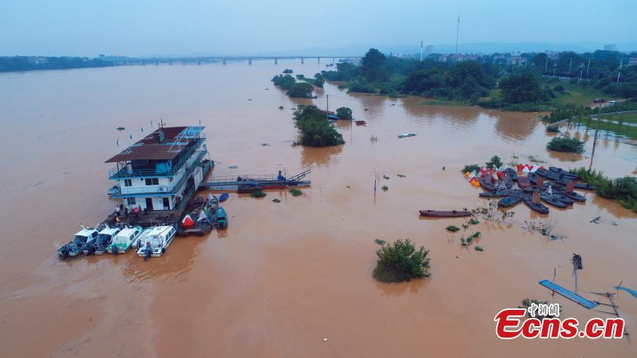 After days of strong rain, the Ganjiang River is in flood in Taihe County, East China's Jiangxi Province, June 12, 2019. Parks and fields in the county were submerged, while roads were closed and electricity supplies cut. (Photo: China News Service/Deng Heping)