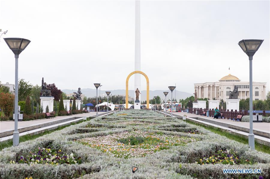 <?php echo strip_tags(addslashes(Photo taken on April 13, 2019 shows a parterre in downtown area of Dushanbe, capital of Tajikistan. (Xinhua/Bai Xueqi))) ?>