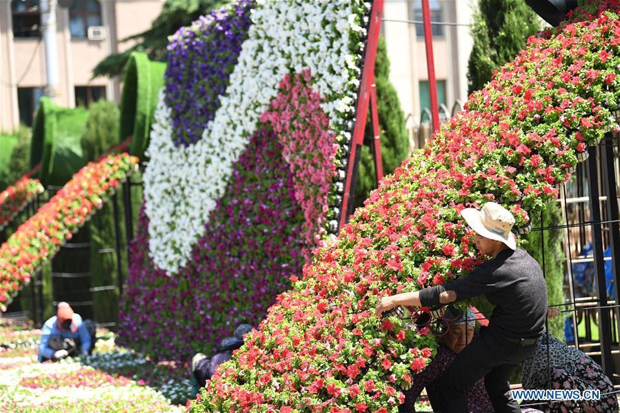 Staff members arrange flowers for a decorating parterre to greet the fifth summit of the Conference on Interaction and Confidence Building Measures in Asia (CICA) in Tajikistan\'s capital Dushanbe, June 13, 2019. (Xinhua/Sadat)