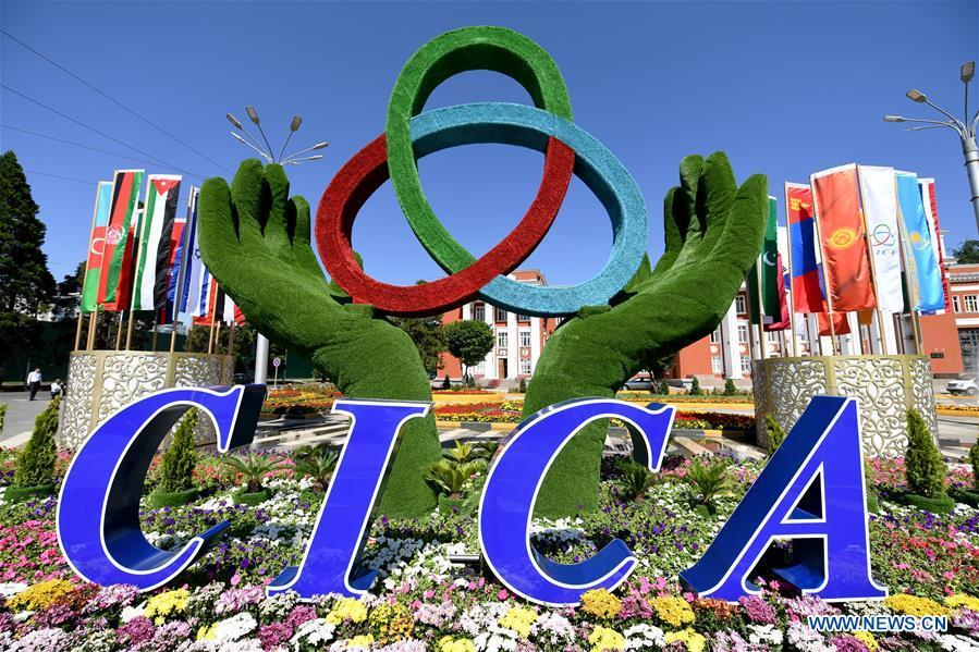 The logo of the fifth summit of the Conference on Interaction and Confidence Building Measures in Asia (CICA) is seen in Tajikistan\'s capital Dushanbe, June 13, 2019. (Xinhua/Sadat)
