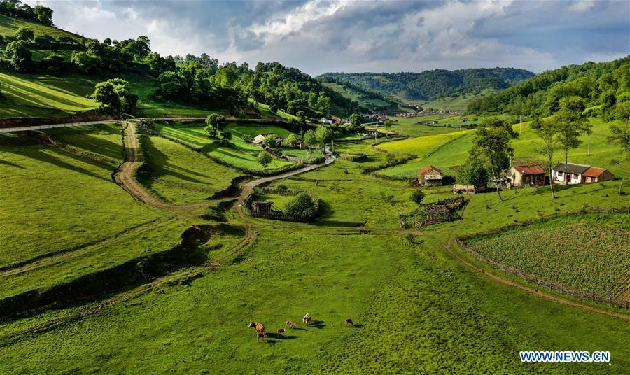 Aerial photo taken on June 12, 2019 shows the view of Guanshan Grassland at Longxian County in Baoji, northwest China\'s Shaanxi Province. (Xinhua/Tao Ming)