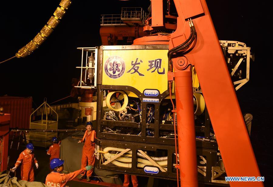 Photo taken on June 15, 2019 shows Discovery, a remote operated vehicle aboard KEXUE, returning from the sea in western Pacific Ocean. China\'s research vessel KEXUE (Science) finished its investigation of seamounts in the west of the Pacific Ocean and started to sail back on Saturday evening. KEXUE is scheduled to arrive in Xiamen of China\'s Fujian Province on June 23. (Xinhua/Zhang Xudong)