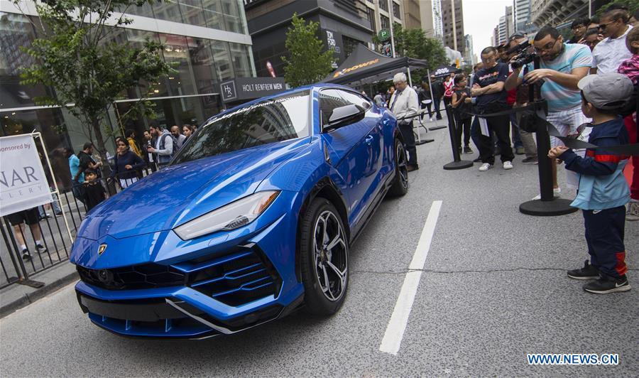 A Lamborghini Urus is seen during the 2019 Yorkville Exotic Car Show in Toronto, Canada, June 16, 2019. More than 110 classic and exotic cars were displayed at the annual Father\'s Day event on Sunday, attracting tens of thousands of visitors. (Xinhua/Zou Zheng)