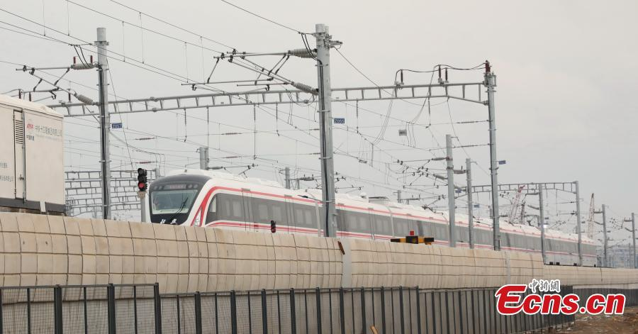 A train runs on a new airport subway line for trial in Beijing, capital of China, June 15, 2019. Self-driving trains for the subway line connecting downtown Beijing with its new international airport started trial run Saturday, according to local authorities. Stretching 41.4 kilometers, the new line supports autopilot system and can run at a speed of 160 km per hour, with as many as 448 passengers, according to Beijing Major Projects Construction Headquarters Office. (Photo/VCG)