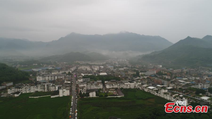 An aerial view of Shuanghe Town, at the epicentre of a 6.0-magnitude earthquake, in Yibin City, Southwest China's Sichuan Province, June 18, 2019. Eleven people died and another 122 were reported injured after the earthquake on Monday night, according to local authorities. (Photo: China News Service/Liu Zhongjun)