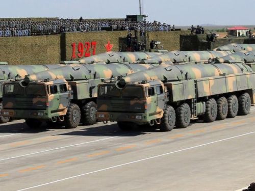 The mobile DF-26 is shown in a military parade in the Inner Mongolia autonomous region in 2017 celebrating the PLA's 90th birthday. (Photo/CHINA DAILY)