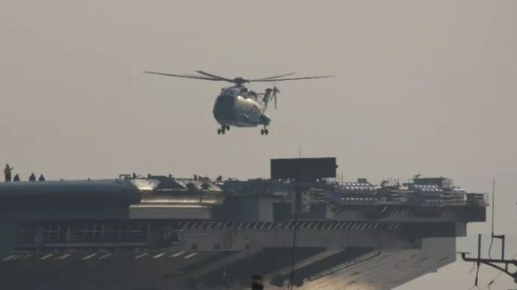 A carrier-based Z-18 helicopter takes off from China's first domestically developed aircraft carrier in Dalian, in northeast China's Liaoning Province, May 5 2018. (Photo/Global Times Photo)