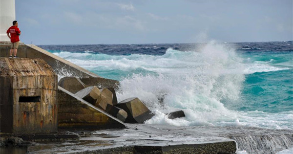 Waves batter southern Chinese island