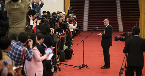 Ministers receive interview after 7th plenary meeting of 1st session of 13th NPC