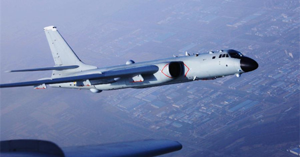 PLA Air Force flies over Miyako Strait for training