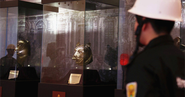 Bronze animal heads on display in Shanghai