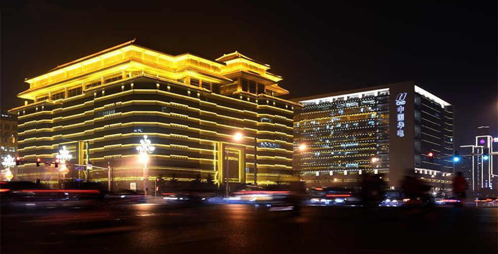 Landscape lighting of buildings bright up Beijing during annual session