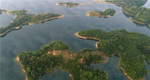 Scenery of Xianghongdian reservoir in Anhui