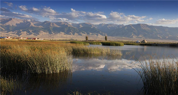 Beautiful scenery of Gaojiahu wetland park in Xinjiang