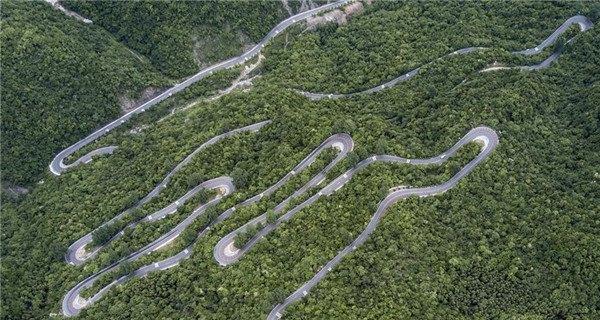Aerial view of Wudangshan-Shennongjia tourist road