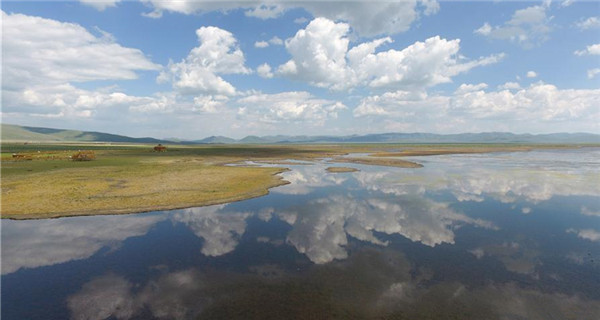 Scenery of Guomang wetland in Gansu