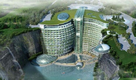 Resort hotel built in Shanghai quarry plans trial operation