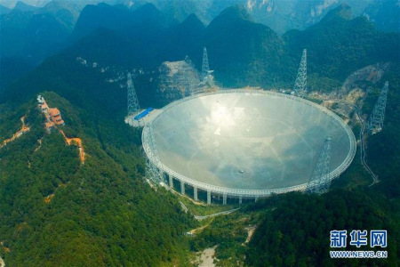 An aerial view of the Five-hundred-meter Aperture Spherical radio Telescope (FAST) in Pingtang County, Southwest China's Guizhou Province on Sept. 24, 2016, a day before the telescope's launch. (Photo/Xinhua)