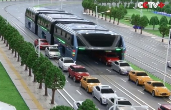 Innovative bus looks like a moving tunnel