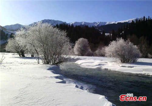 Snow scenery in early spring at Kunes, Xinjiang