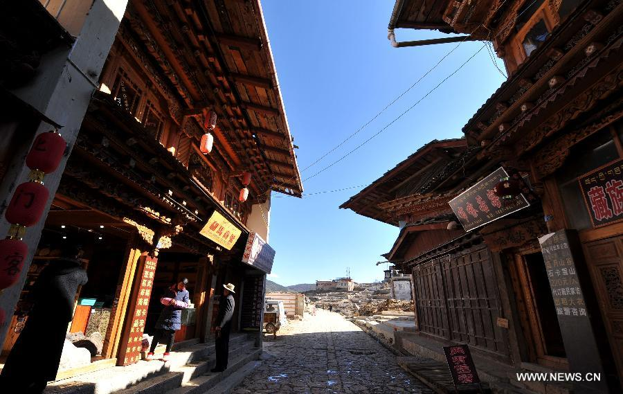 Burnt-out Dukezong ancient town in Shangri-la under restoration