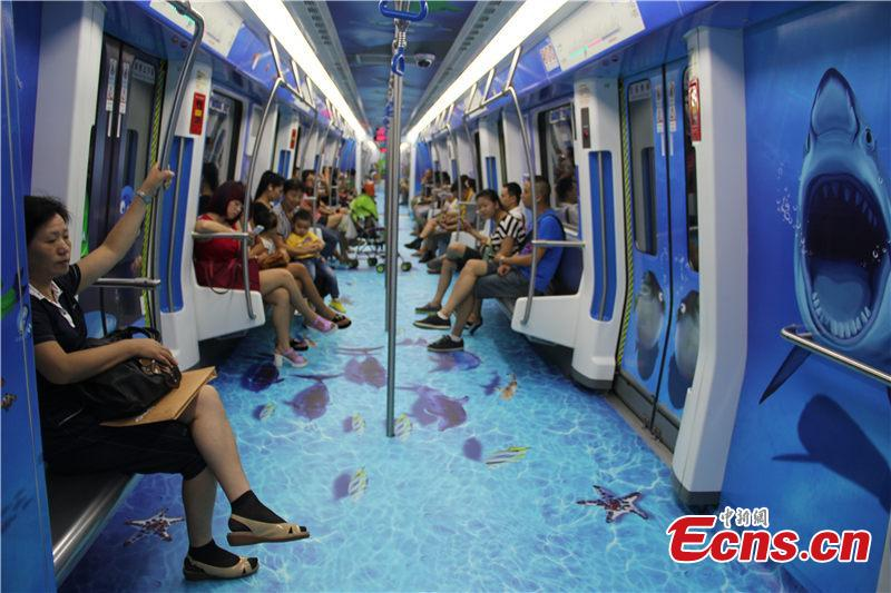 Subway train themed on 'sea world' makes debut in E China city