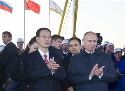 Chinese vice premier, Putin witness start of construction on China-Russia gas pipeline