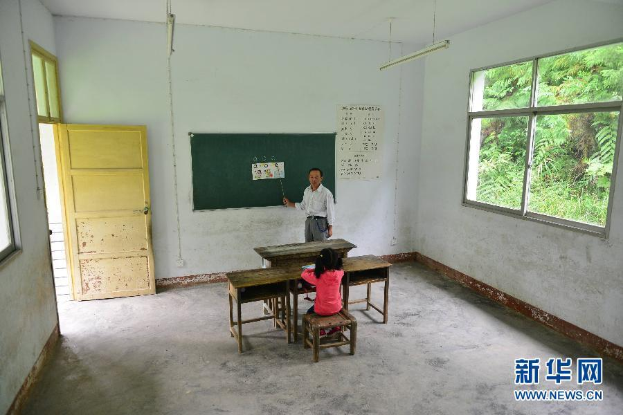 Rural school with one teacher, one student