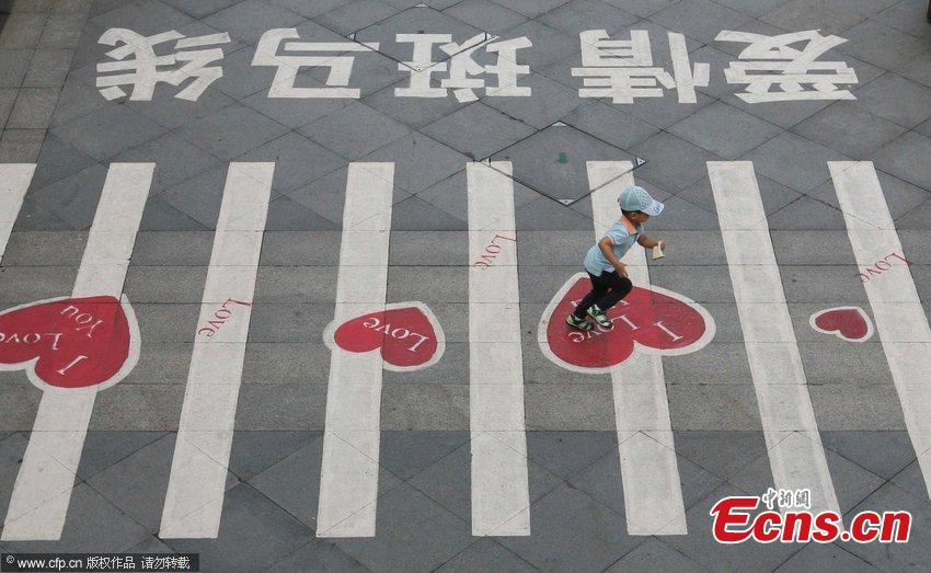 Love zebra crossing in E China's Nanjing