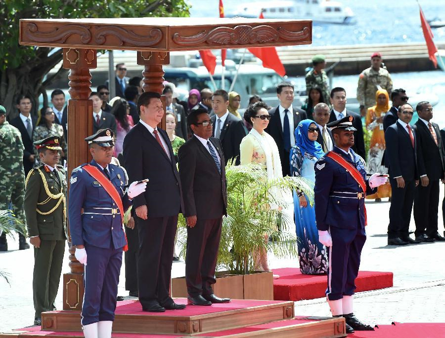 Maldivian president holds welcome ceremony for Chinese counterpart