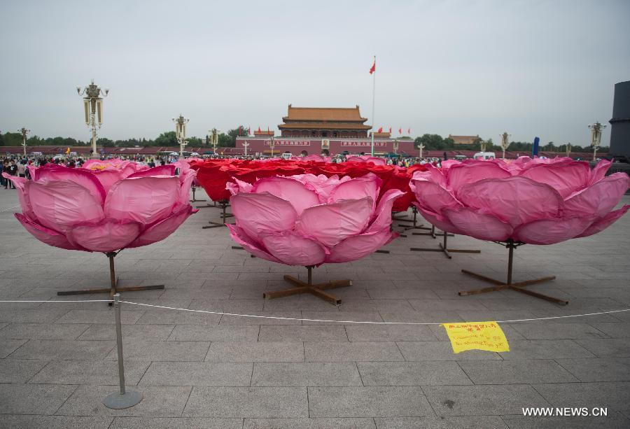Flower decorations prepared to greet upcoming National Day