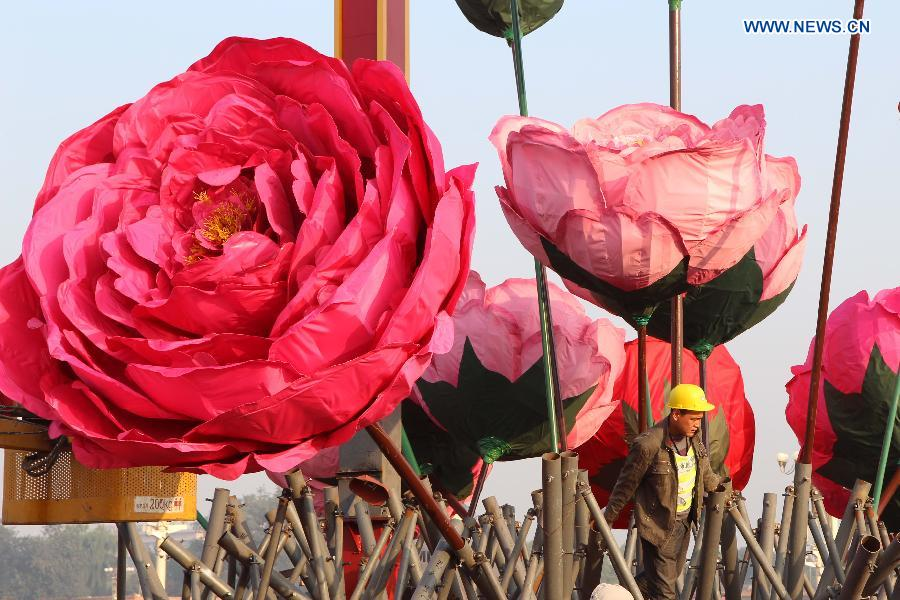 Flower decorations prepared to greet upcoming National Day at Tian'anmen Square