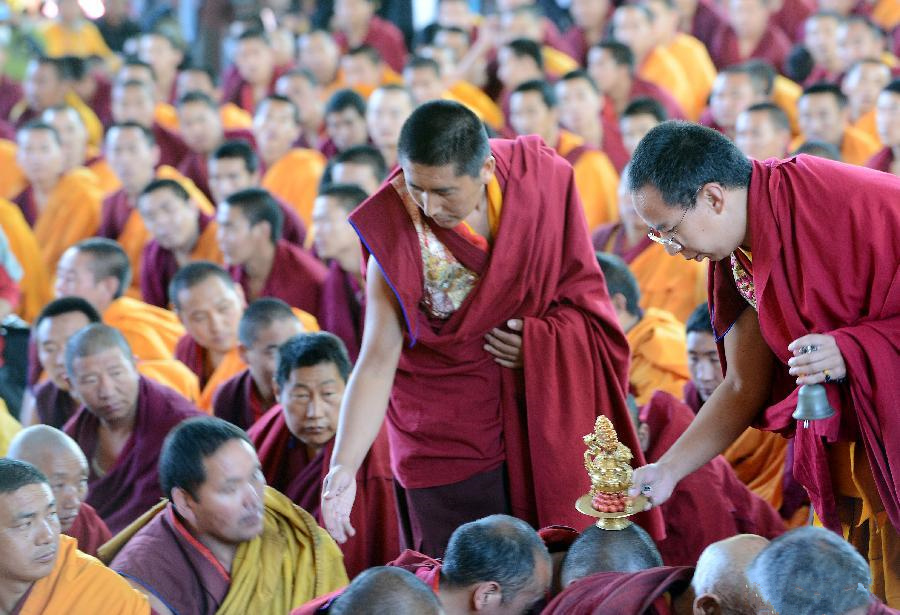 11th Panchen Lama attends religious service in Tibet