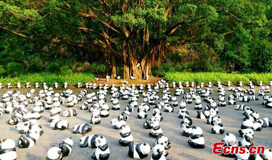 Panda figures displayed in Harbin during Golden Week