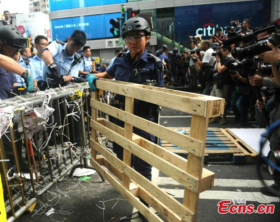 Hong Kong clears intersection in Mong Kok