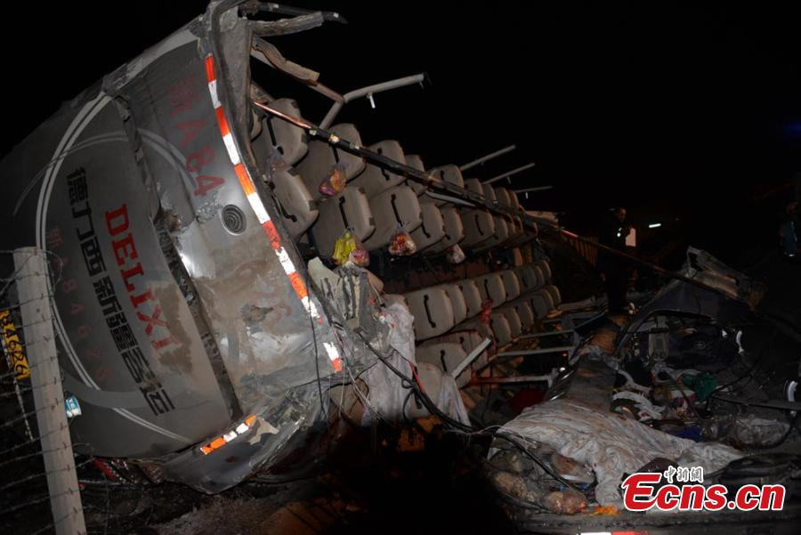 Two killed as coach overturns in NW China