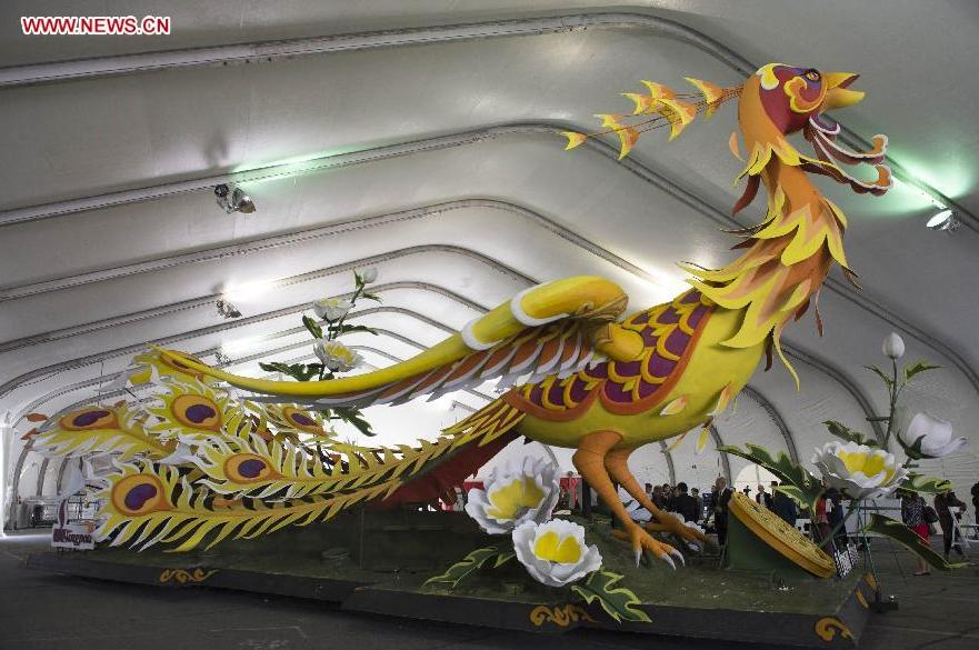 China float for Rose Parade 2015 seen in LA